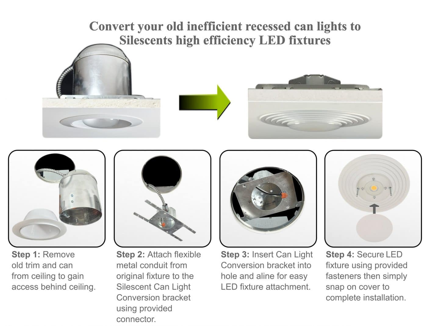 Recessed Can Light Conversion Kit LED Light Fixture
